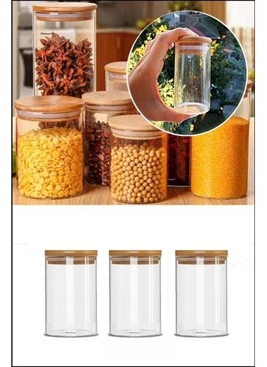 Kitchen Love Kitchen Love 3'lü 8 X 6,5 cm Bambu Kapaklı Borosilikat Cam Baharatlık Renksiz